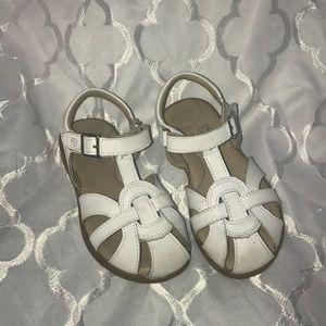 White closed toe sandals